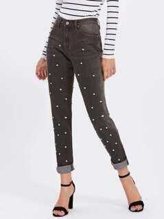 Rolled Hem Pearl Beaded Jeans