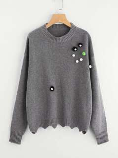 Drop Shoulder Pompom Embellished Scallop Hem Sweater