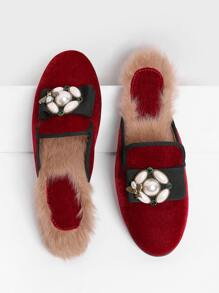 Jewelry Decorated Velvet Flats With Faux Fur