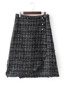 Raw Hem Overlap Skirt