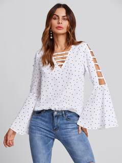 Ladder Sleeve And V Neck Flute Sleeve Blouse