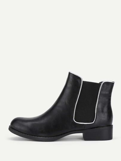 Round Toe PU Chelsea Boots