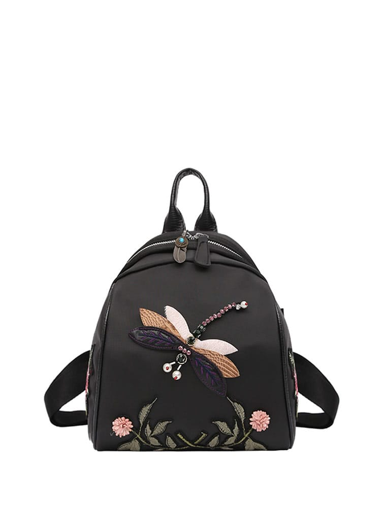 Flower And Insect Embroidered Backpack