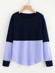 Contrast Stripe Drop Shoulder Sweatshirt