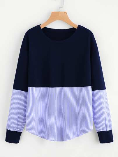 Contrast Stripe Drop Shoulder Sweatshirt