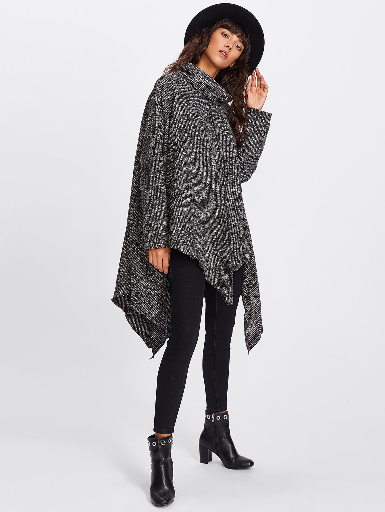 High Neck Asymmetric Hem Ribbed Sweater sweater171018175
