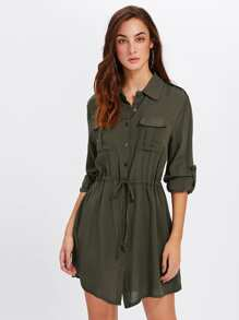 Roll Up Sleeve Pocket Front Drawstring Dress
