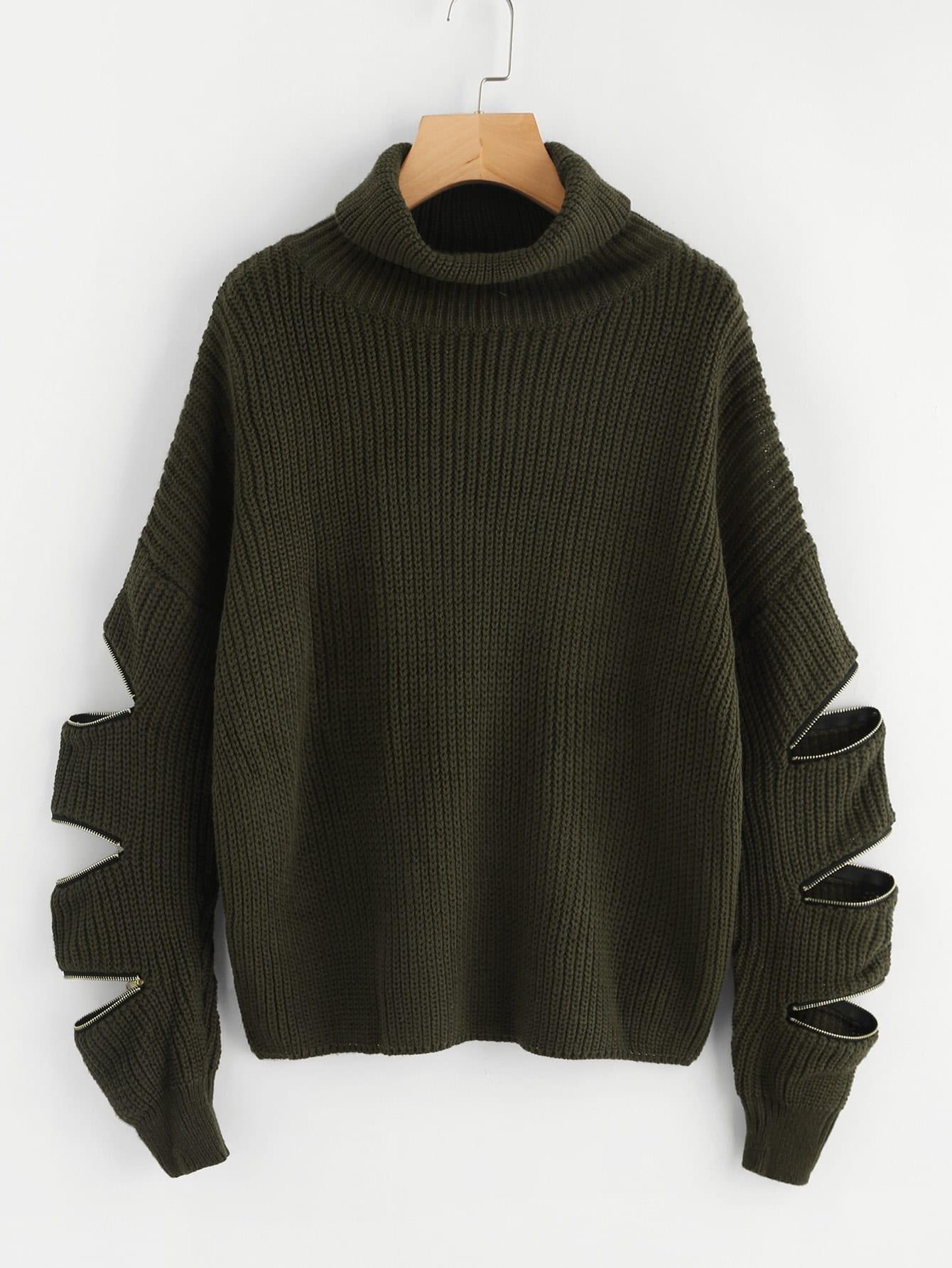 Zip Decoration Sleeve Drop Shoulder Sweater two tone drop shoulder sweatshirt