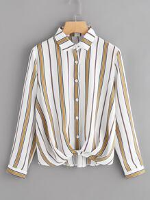 Striped Pleated Draped Shirt