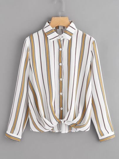 Striped Pleated Draped Shirt
