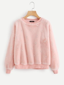 Drop Shoulder Allover Pearl Faux Fur Sweatshirt