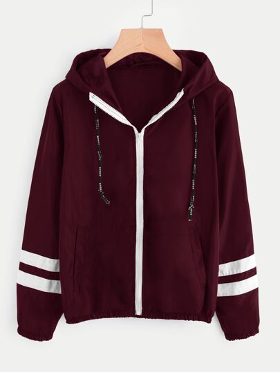 Varsity-striped Zip Up Hooded Jacket
