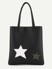 Double Star Patch Tote Bag