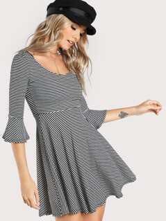 Wide Neck Striped Quarter Sleeve Dress BLACK WHITE