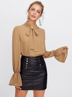 Trumpet Sleeve Tie Neck Blouse