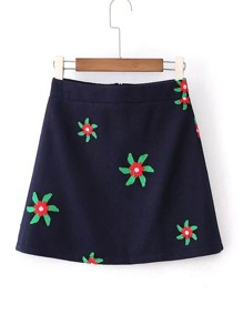 Flower Embroidery A Line Skirt