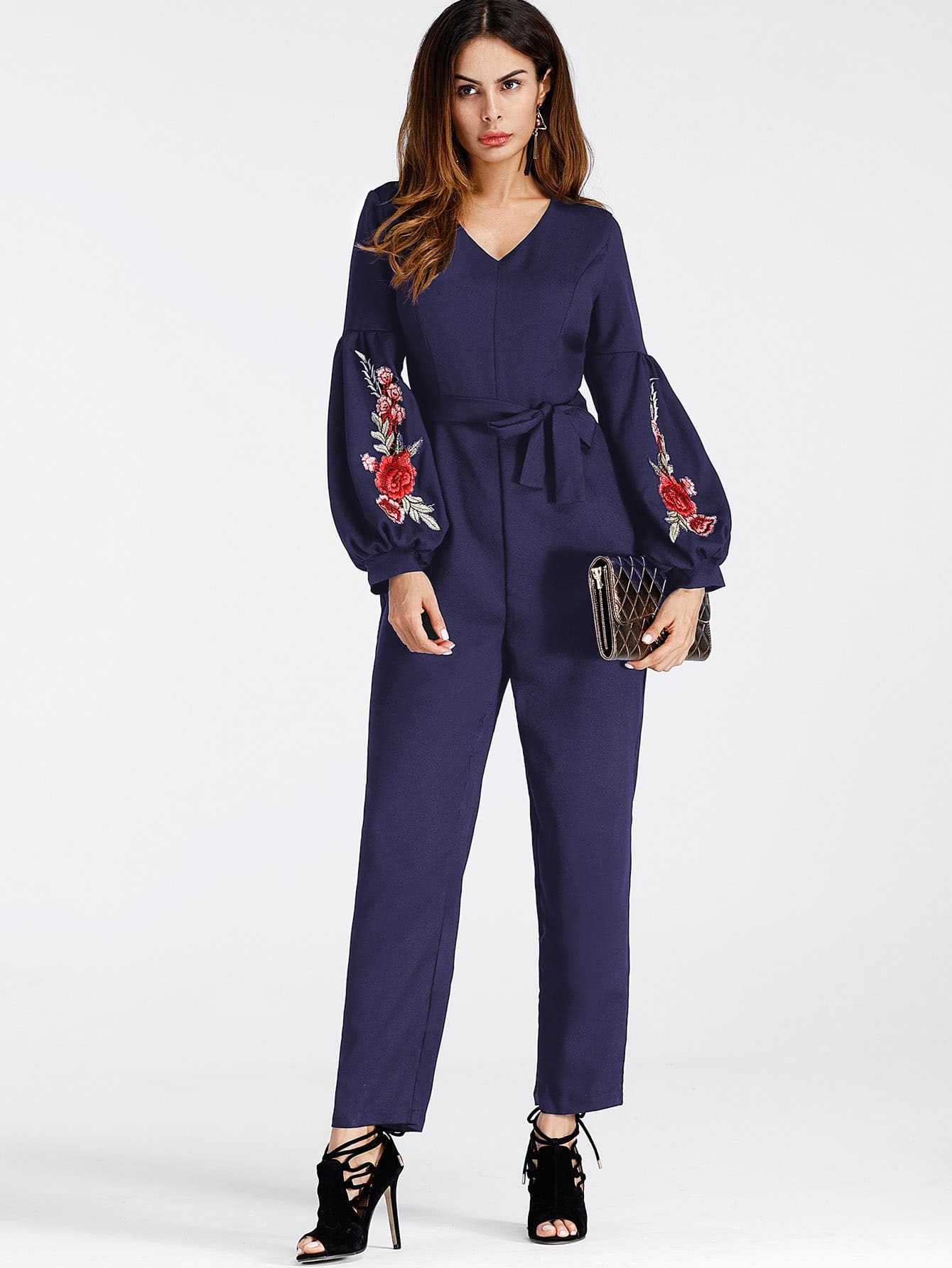 Lantern Sleeve Embroidered Rose Applique Jumpsuit With Belt