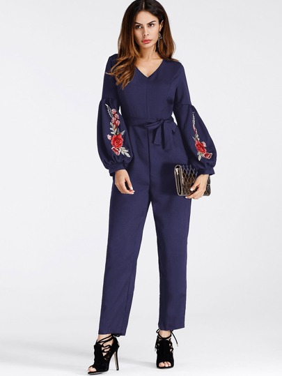 Lantern Sleeve Embroidered Rose Applique Jumpsuit With Belt