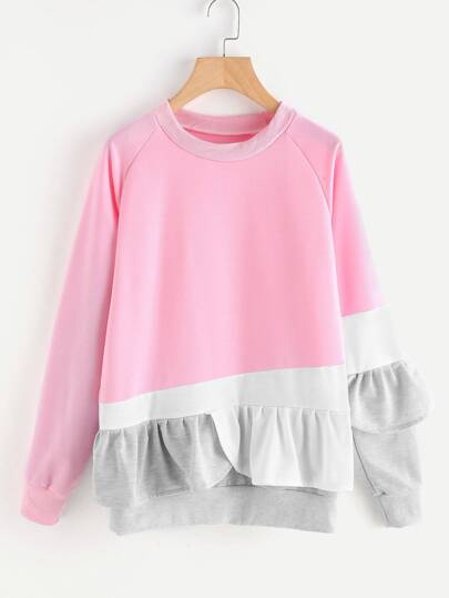 Contrast Panel Frill Trim Sweatshirt