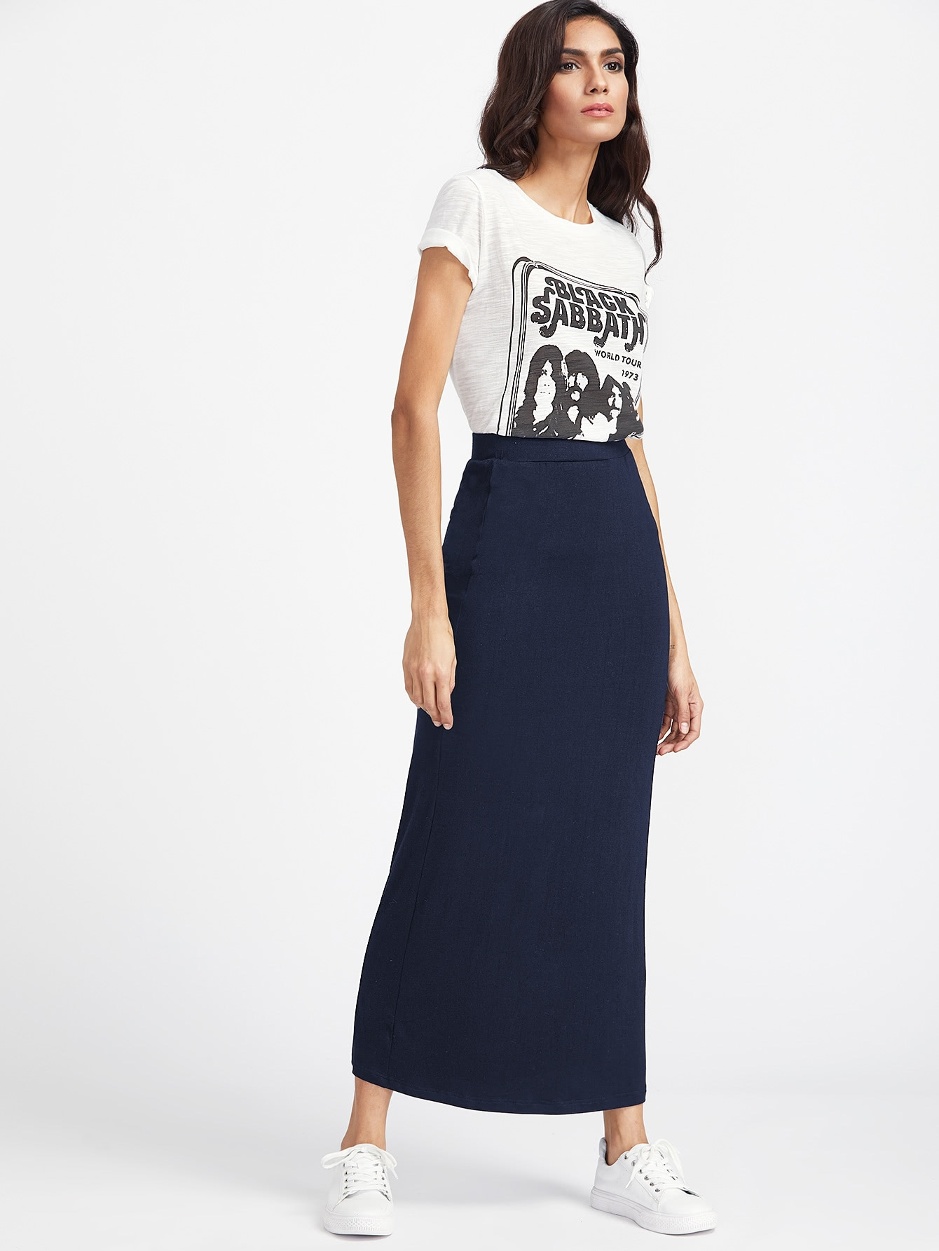 Elastic Waist Longline Jersey Skirt