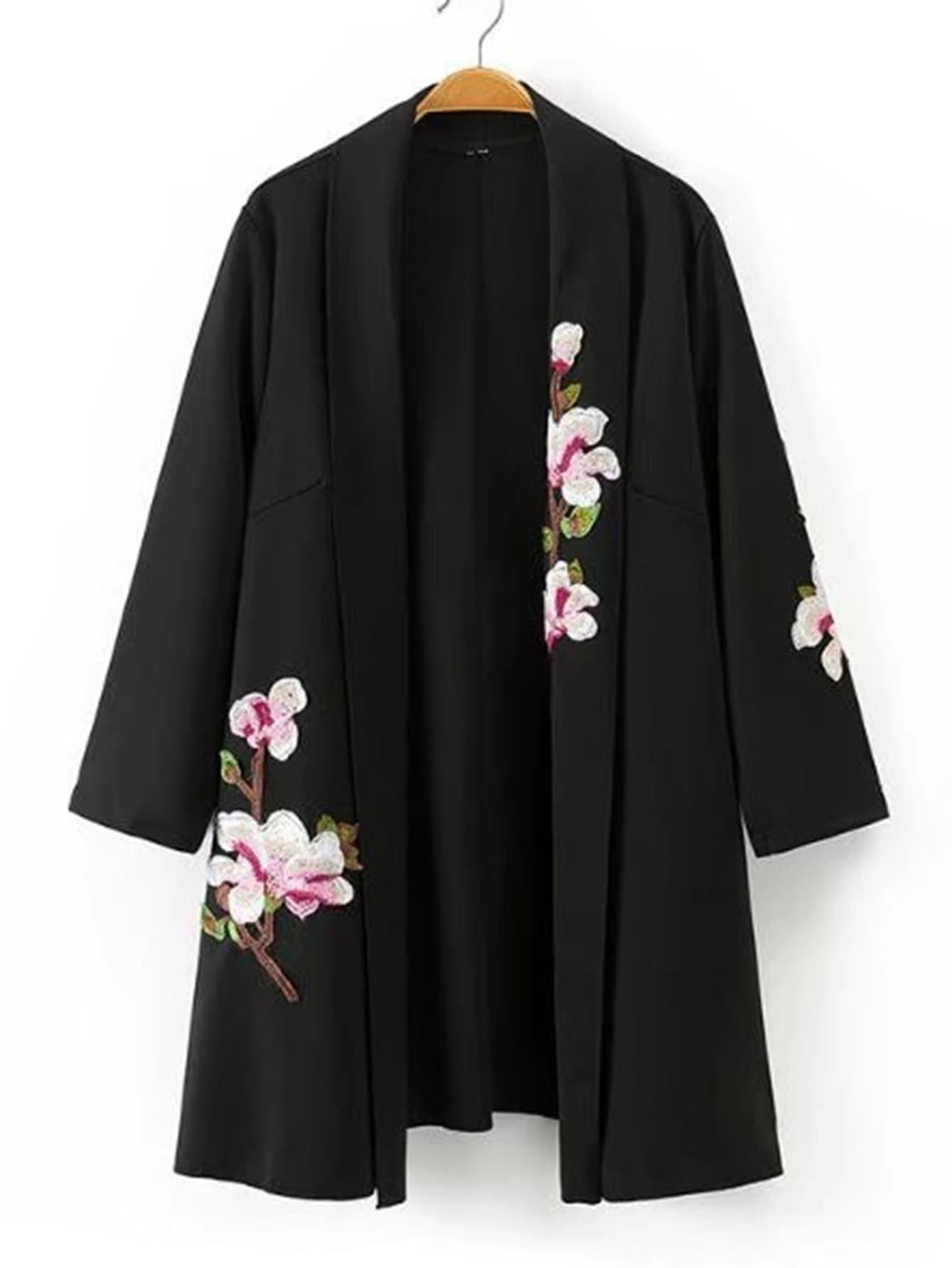 Shawl Collar Embroidered Flower Kimono