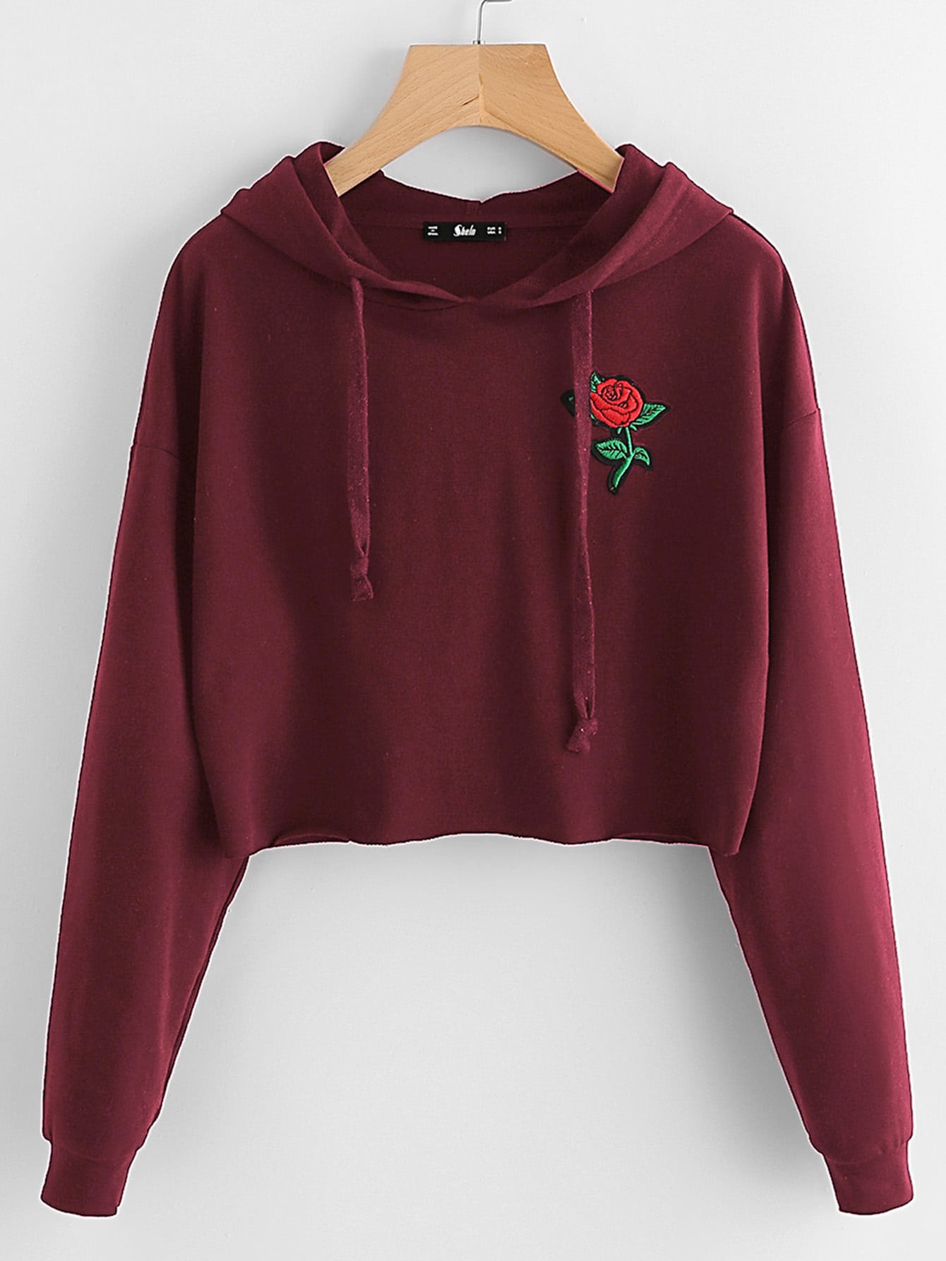 Embroidered Rose Patch Raw Hem Hoodie embroidered flower patch raw hem hoodie