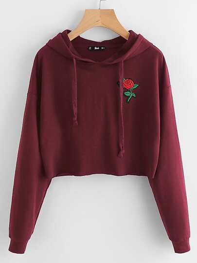 Embroidered Rose Patch Raw Hem Hoodie