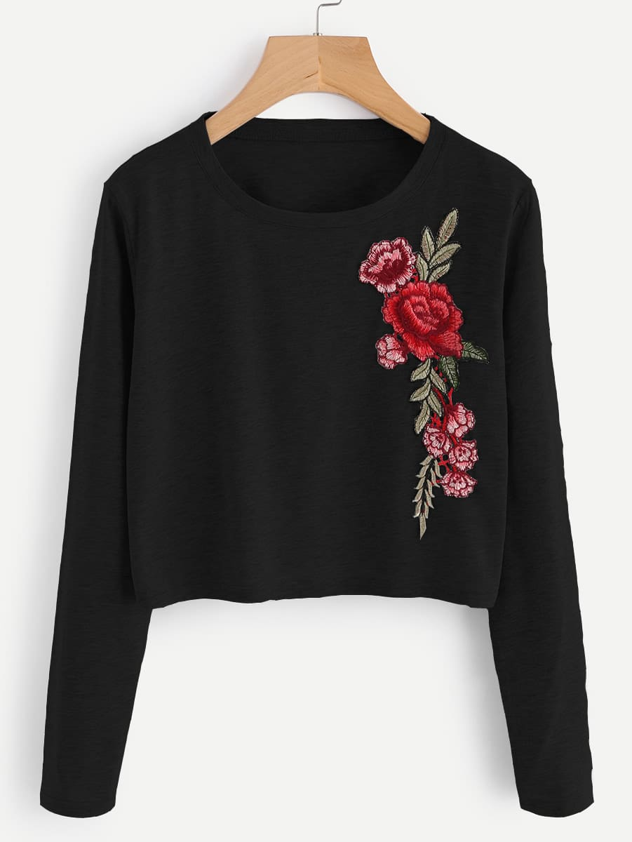 цена Embroidered Applique Marled Tee
