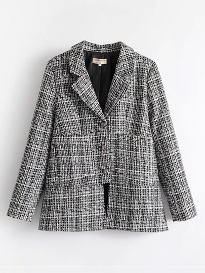 Side Slit Tweed Blazer