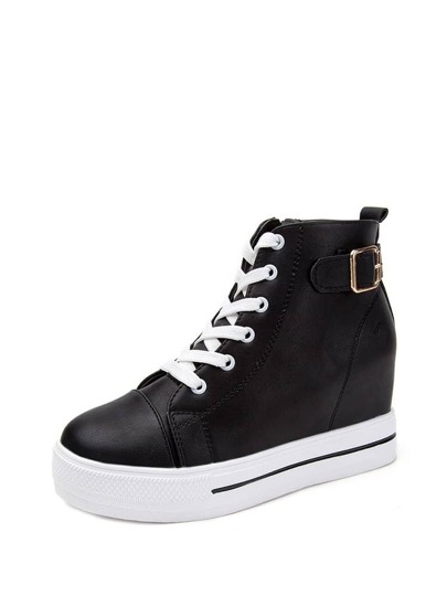 Lace Up Zipper PU Wedge Trainers