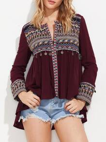 Embroidered Yoke And Cuff Coin Fringe Trim Blouse