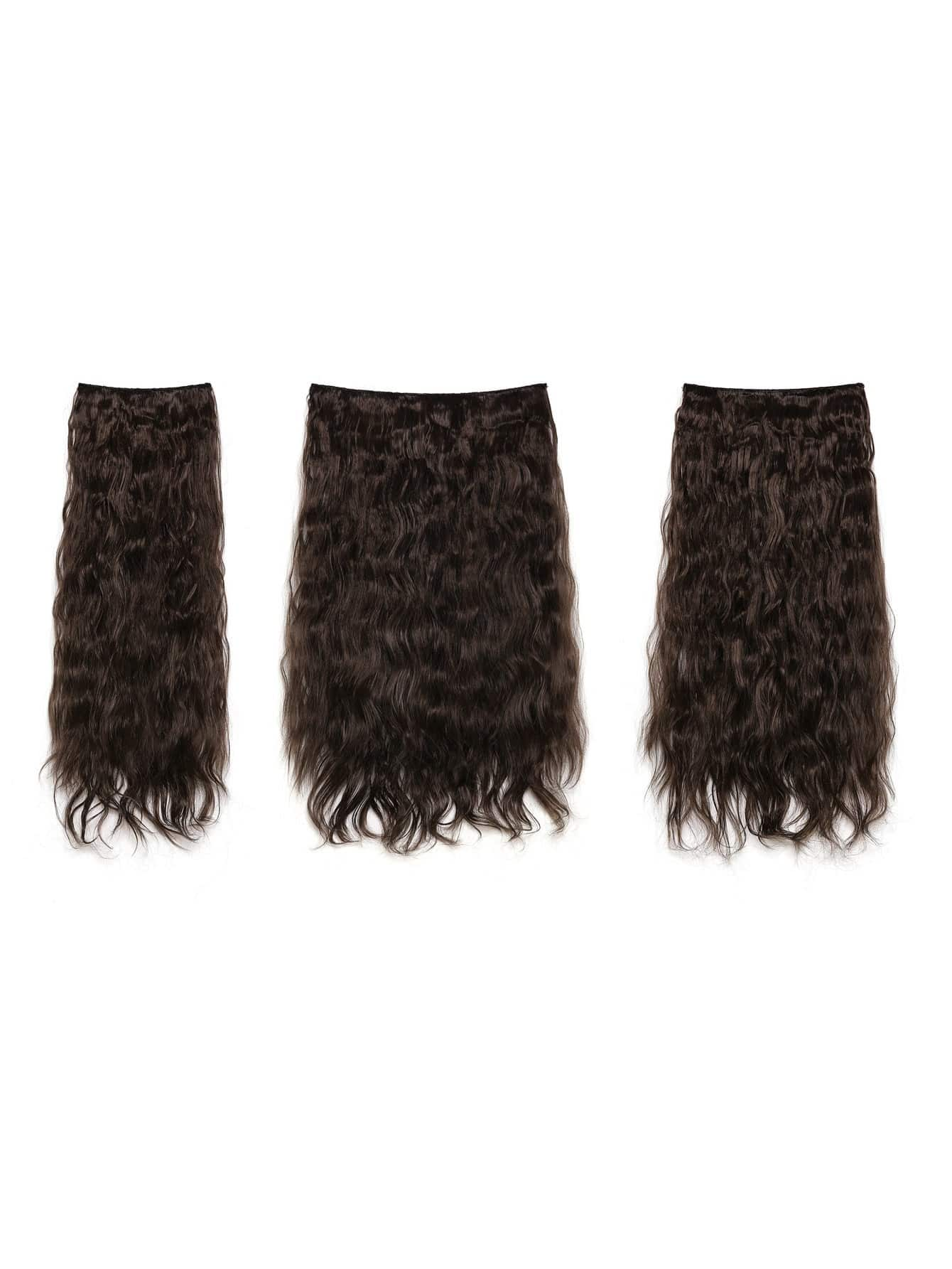 цена на Choc Brown Clip In Curly Hair Extension 3pcs