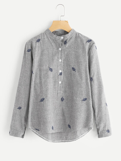 Leaf Embroidered Pinstripe Shirt