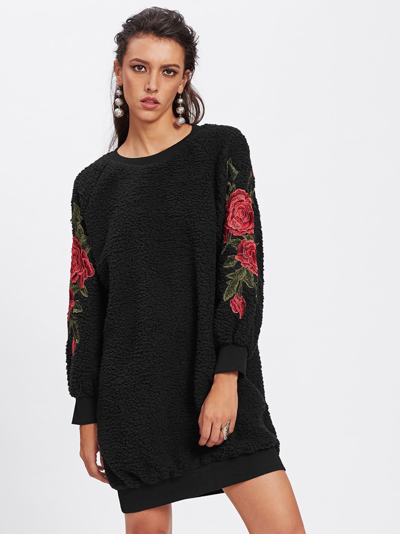 Embroidered Rose Applique Fluffy Sweatshirt Dress embroidered rose applique side split belt dress