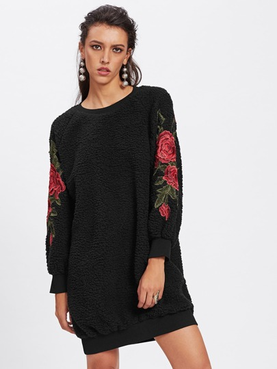 Embroidered Rose Applique Fluffy Sweatshirt Dress