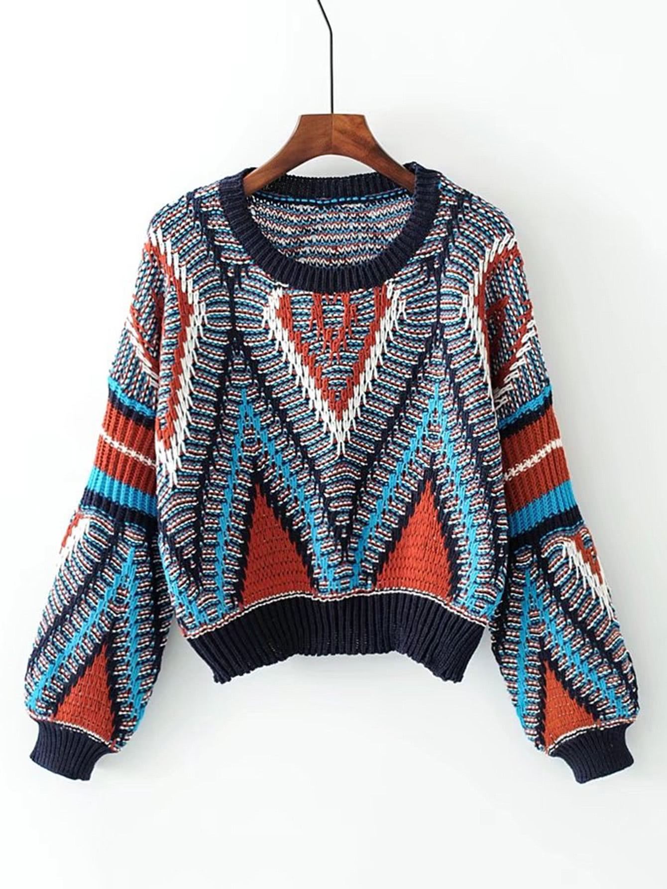 Geometric Pattern Loose Sweater geometrical pattern cape loose sweater with taeesl details