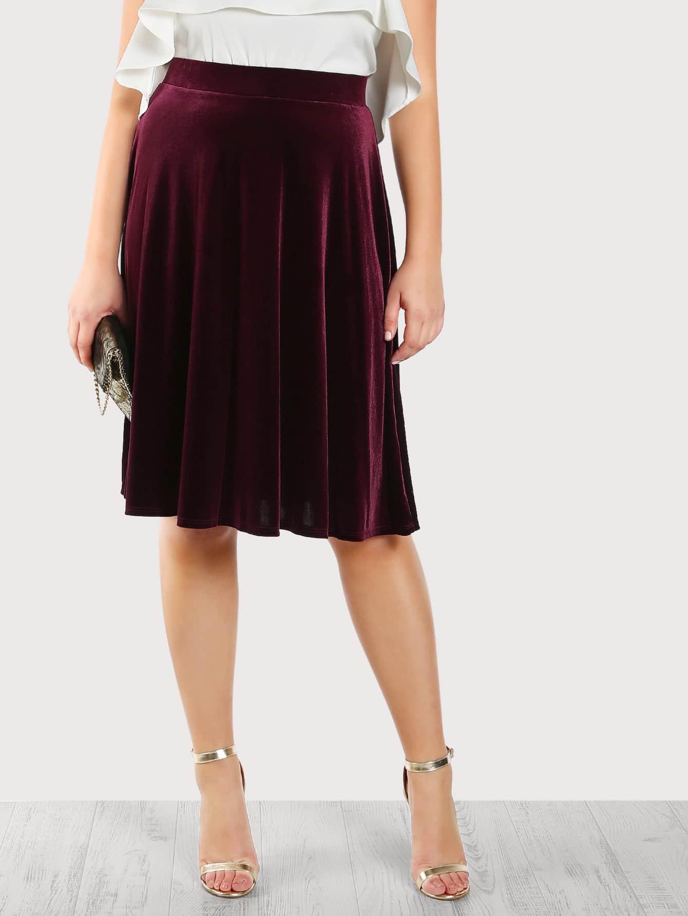 High Rise Velvet Skirt