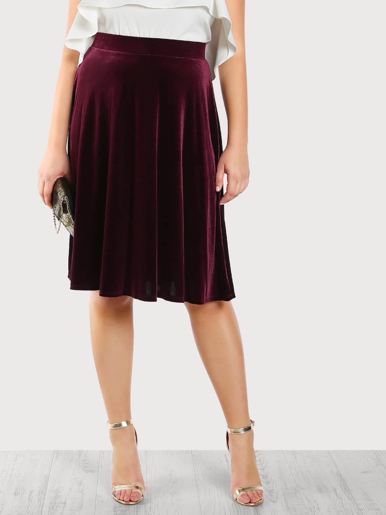 Image of High Rise Velvet Skirt