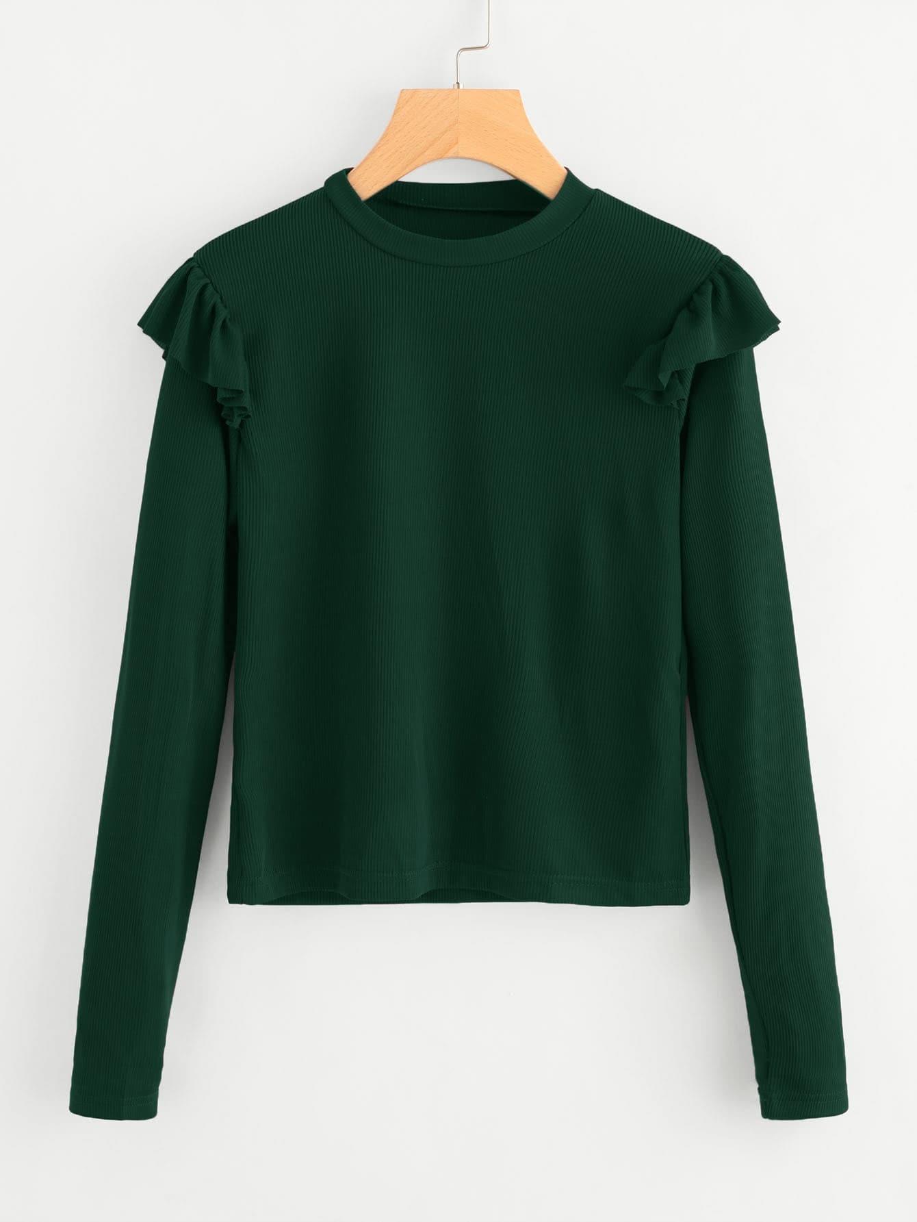 Frill Trim Ribbed Tshirt sweater171013070