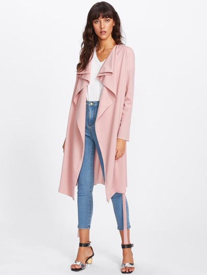 Drawstring Belt Detail Waterfall Coat