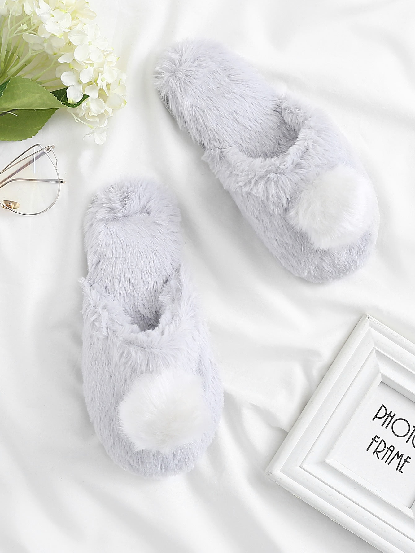 Image of Contrast Pom Faux Fur Slippers