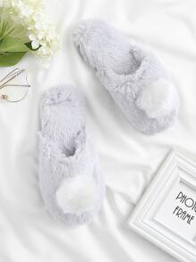 Contrast Pom Faux Fur Slippers
