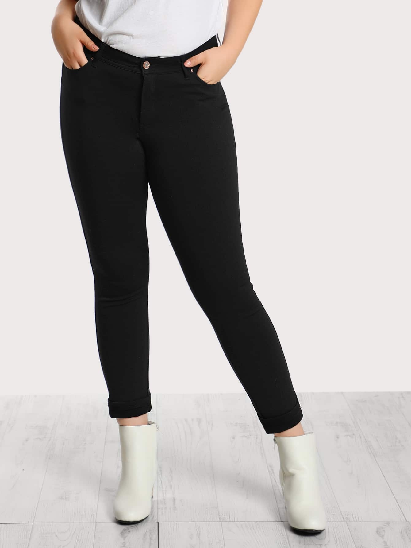 Mid Rise Front Pocket Skinny Jeans