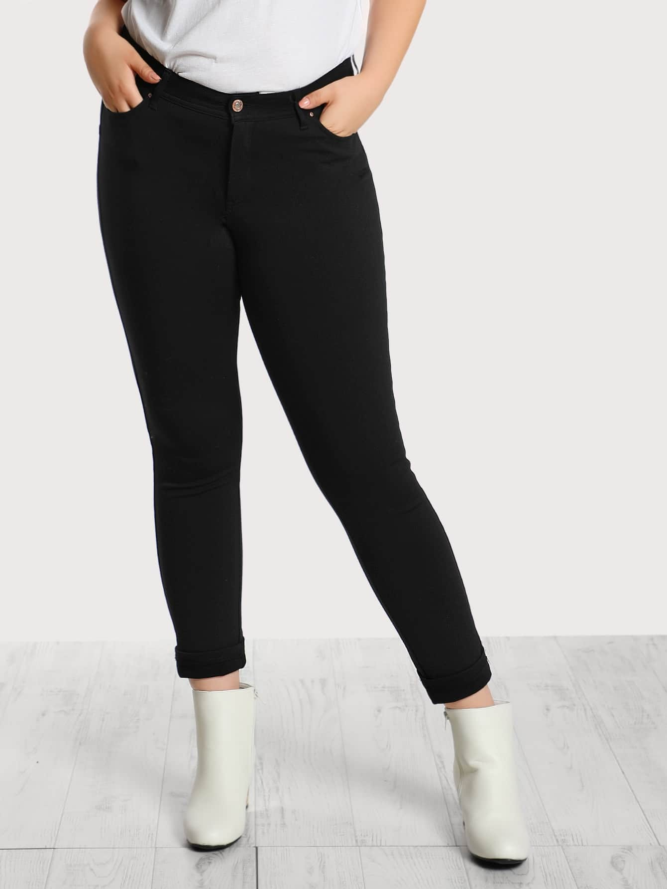 Image of Mid Rise Front Pocket Skinny Jeans