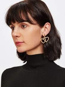 Double Heart Design Drop Earrings