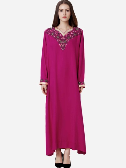 Flower Embroidered Hijab Evening Dress