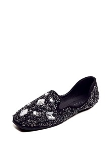 Crystal Decorated Glitter Square Toe Flats