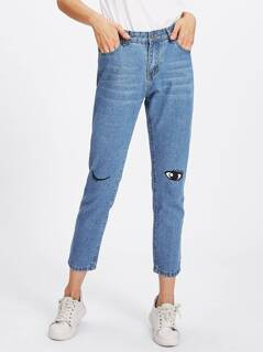Embroidered Winky Eye Knee Crop Jeans