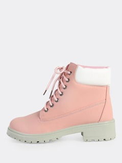 Workmans Lace Up Contrast Boots PINK