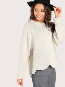 Knitted Long Sleeve Sweater CREAM